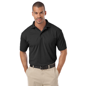 MEN'S IL-50 POLO NO POCKET  -  BLACK SMALL SOLID