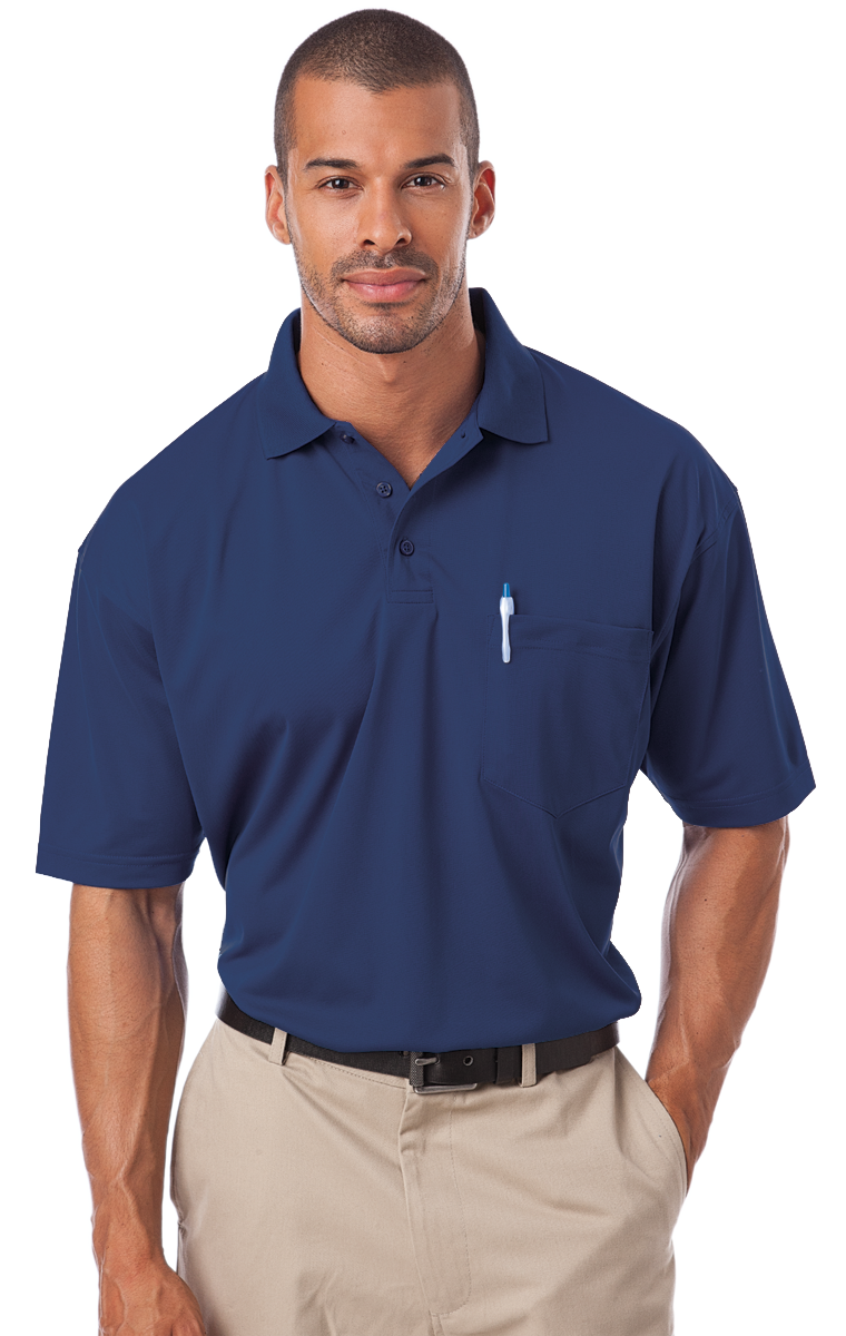 1052 Nav S Solidbg1052adult Il 50 Pocketed Polo