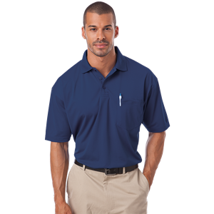 ADULT IL-50 POCKETED POLO  -  NAVY SMALL SOLID