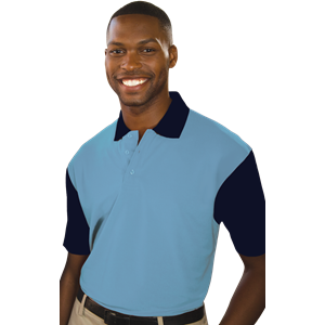 MENS IL-50 COLOR BLOCK POLO  -  LIGHT BLUE EXTRA LARGE SOLID