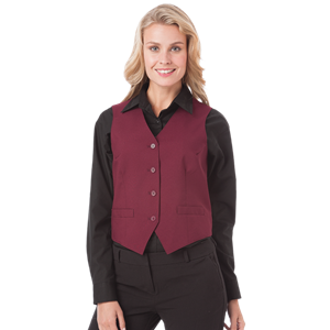 LADIES TEFLON TWILL VEST  -  BURGUNDY EXTRA LARGE SOLID