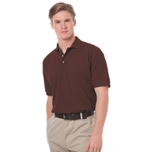 MENS SHORT SLEEVE 100% COTTON PIQUE POLO  -  CHOCOLATE EXTRA SMALL SOLID