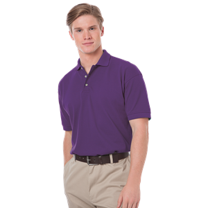 MENS SHORT SLEEVE 100% COTTON PIQUE POLO CO#  -  GRAPE EXTRA SMALL SOLID