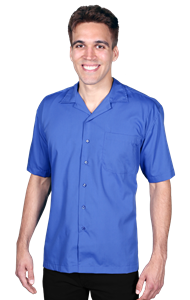 MENS SHORT SLEEVE SOLID CAMPSHIRT 65/35 POLY/ COTTON  -  FRENCH BLUE EXTRA SMALL SOLID