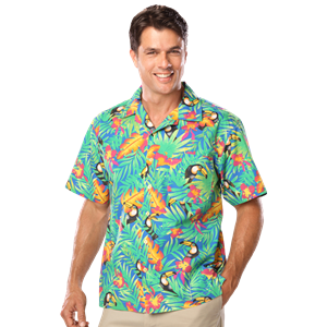 UNISEX TROPICAL PRINT CAMPSHIRT  -  TUCAN PRINT EXTRA SMALL PRINT