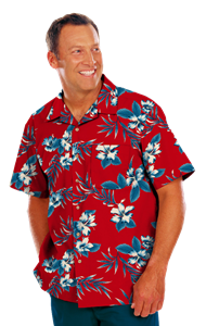 UNISEX TROPICAL PRINT CAMPSHIRT  -  HIBISCUS PRINT EXTRA SMALL PRINT