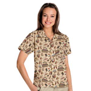 UNISEX TROPICAL PRINT CAMPSHIRT  -  BISTRO EXTRA SMALL PRINT