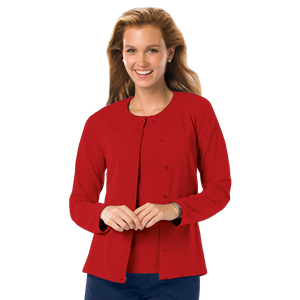 LADIES LONG SLEEVE CARDIGAN  -  RED EXTRA SMALL SOLID