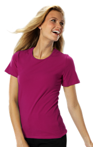 LADIES SHORT SLEEVE JEWEL NECK  -  BERRY EXTRA SMALL SOLID