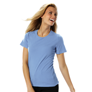 LADIES SHORT SLEEVE JEWEL NECK  -  LIGHT BLUE EXTRA SMALL SOLID