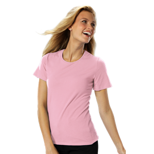LADIES SHORT SLEEVE JEWEL NECK CO# -  PINK EXTRA LARGE SOLID