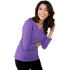 LADIES 3/4 SLEEVE V-NECK  -  VIOLET EXTRA SMALL SOLID