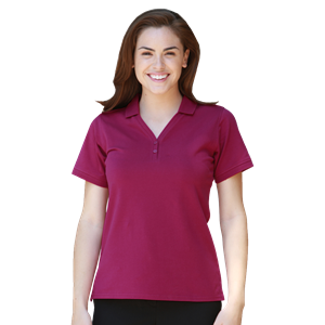 LADIES Y-PLACKET CO#  -  BERRY EXTRA SMALL SOLID