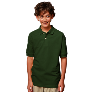 YOUTH SHORT SLEEVE SUPERBLEND PIQUE  -  HUNTER EXTRA SMALL SOLID