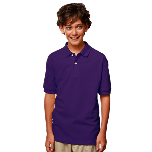 YOUTH SHORT SLEEVE SUPERBLEND PIQUE CO#  -  PURPLE EXTRA LARGE SOLID