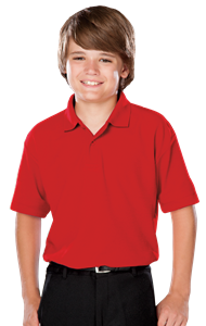 YOUTH VALUE MOISTURE WICKING S/S POLO  -  RED EXTRA SMALL SOLID