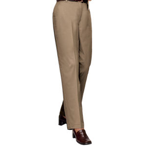 LADIES FLAT FRONT TEFLON TREATED TWILL PANTS  -  KHAKI OPEN BOTTOM WAIST 28