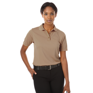 LADIES IL-50 POLO NO POCKET  -  TAN SMALL SOLID