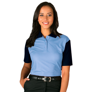 LADIES IL-50 COLOR BLOCK POLO  -  LIGHT BLUE SMALL SOLID