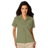 LADIES SHORT SLEEVE SOLID CAMPSHIRT 65/35 POLY/ COTTON  -  SAGE EXTRA SMALL SOLID