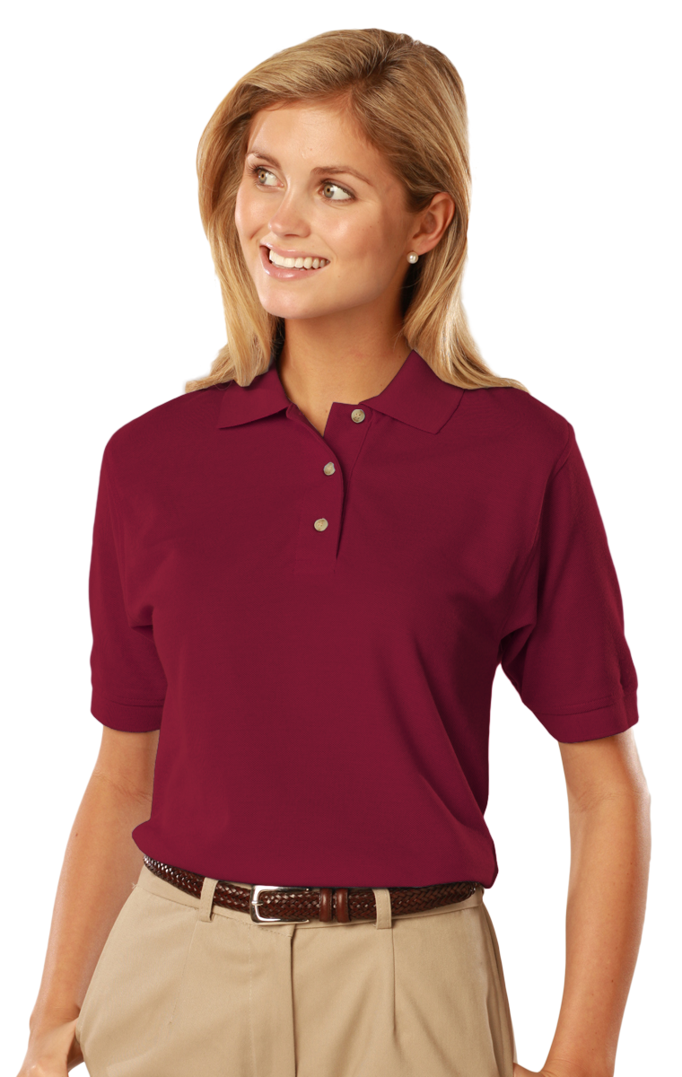 291168f6e LADIES SHORT SLEEVE 100% COTTON PIQUE POLO - BURGUNDY EXTRA LARGE SOLID. Loading  zoom