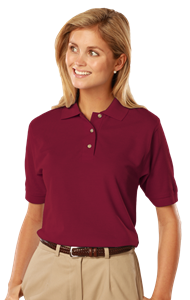 LADIES SHORT SLEEVE 100% COTTON PIQUE POLO  -  BURGUNDY EXTRA LARGE SOLID