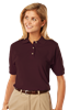 LADIES SHORT SLEEVE 100% COTTON PIQUE POLO #CO -  CHOCOLATE EXTRA LARGE SOLID