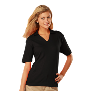LADIES SHORT SLEEVE PIMA COTTON POLOS WS#  -  BLACK EXTRA LARGE SOLID