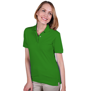 LADIES SHORT SLEEVE TEFLON TREATED PIQUES NO POCKET  -  KELLY EXTRA LARGE SOLID