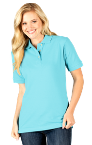 LADIES SHORT SLEEVE SUPERBLEND PIQUE  -  AQUA EXTRA SMALL SOLID
