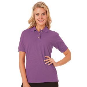 LADIES SHORT SLEEVE SUPERBLEND PIQUE CO#  -  MULBERRY EXTRA SMALL SOLID