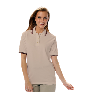 LADIES SHORT SLEEVE TIPPED COLLAR & CUFF PIQUES  -  NATURAL EXTRA LARGE TIPPED BLACK