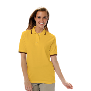 LADIES SHORT SLEEVE TIPPED COLLAR & CUFF PIQUES ###  -  YELLOW EXTRA LARGE TIPPED BLACK