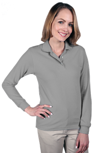 LADIES LONG SLEEVE SUPERBLEND PIQUE  -  GREY EXTRA LARGE SOLID
