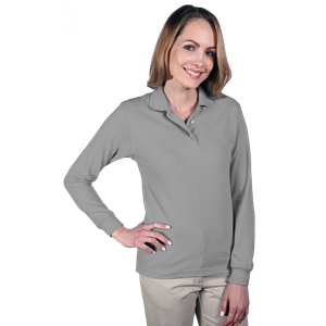 LADIES LONG SLEEVE SUPERBLEND PIQUE  -  GREY SMALL SOLID