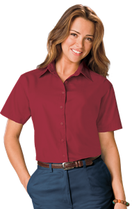 LADIES S/S LIGHT WEIGHT POPLIN SHIRT  -  BURGUNDY EXTRA LARGE SOLID
