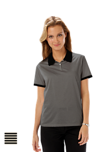 LADIES SHADOW STRIPE 65/35 BLENDED POLO CO#  -  BLACK SMALL STRIPE NATURAL