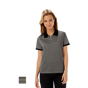LADIES SHADOW STRIPE 65/35 BLENDED POLO CO#  -  BLACK LARGE STRIPE NATURAL