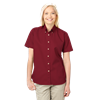 LADIES SHORT SLEEVE 100% COTTON TWILL  -  BURGUNDY EXTRA LARGE SOLID