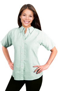 LADIES SHORT SLEEVE OXFORD  -  GREEN STRIPE EXTRA LARGE STRIPE