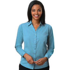 LADIES CROSS-WEAVE L/S SHIRT AQUA EXTRA LARGE SOLID