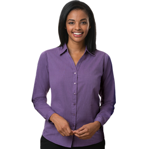 LADIES CROSS-WEAVE L/S SHIRTL  -  PLUM EXTRA SMALL SOLID