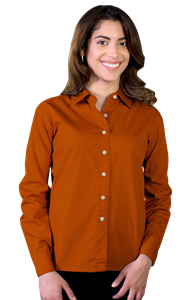 LADIES LONG SLEEVE EASY CARE POPLIN  -  BURNT ORANGE EXTRA SMALL SOLID