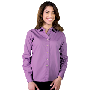 LADIES LONG SLEEVE EASY CARE POPLIN ###  -  MULBERRY EXTRA SMALL SOLID