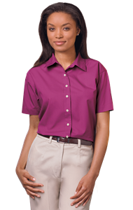 LADIES SHORT SLEEVE  EASY CARE POPLIN  -  BERRY EXTRA SMALL SOLID