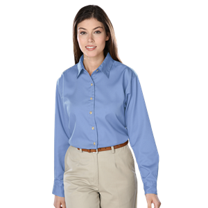 LADIES LONG SLEEVE TEFLON TWILL  -  LIGHT BLUE EXTRA LARGE SOLID