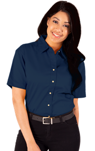 LADIES SHORT SLEEVE TEFLON TWILL  -  NAVY EXTRA LARGE SOLID