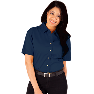LADIES SHORT SLEEVE TEFLON TWILL  -  NAVY SMALL SOLID
