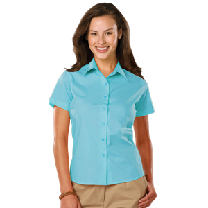 LADIES EASY CARE STRETCH SS POPLIN CO# - AQUA EXTRA SMALL SOLID