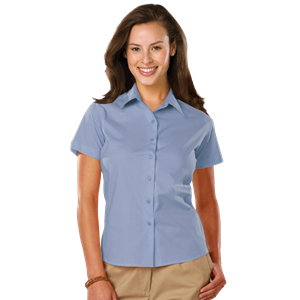 LADIES EASY CARE STRETCH SS POPLIN  -  LIGHT BLUE EXTRA SMALL SOLID